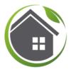 logo représentant une maison grise avec une petite fenêtre composée de 4 carreaux entourées d'une cercle vert et s'une feuille verte représentant l'écologie intégrée à chacun des gestes effectués à la maison.
