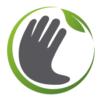 logo composé d'un main grise entouré d'un cercle vert et d'une feuille verte symbolisant la rencontre des savoirs faire manuels et de l'écologie.