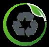 logo représentant 3 flèches glises positionnées en rond les unes après les autres entourées d'une cercle vert et d'une feuille verte illustrant l'upcycling soit le réemploi de matière initialement destinée à rester à l'état de déchet finalement utilisé en tant que matière première lorsque cela est possible dans la production des produits Angie Be Green.