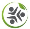 Logo montrant 3 individus en ronde entourés d'un cercle vert avec une feuille illustrant la solidarité dont fait preuve Angie Be Green dans la plupart de ses projets.