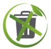 Logo représentant une poubelle grise barrée d'une croix verte entourée d'une cercle vert et d'une feuille verte illustrant la volonté d'Angie Be Green de proposer des gestes du quotidien nouveaux non générateurs de déchets